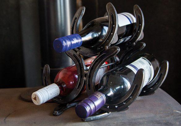 Horseshoe wine rack from £50 anvilcottagecrafts.co.uk